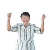 Ηλικιωμένο ασιατικό χαμόγελο επιχειρησιακών γυναικών που απομονώνεται στο άσπρο υπόβαθρο, πορεία ψαλιδίσματος μέσα Στοκ Εικόνα