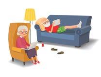 Ηλικιωμένο ζεύγος με τις συσκευές Στοκ φωτογραφία με δικαίωμα ελεύθερης χρήσης
