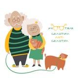 Ηλικιωμένο ζεύγος με το σκυλί τους Στοκ φωτογραφία με δικαίωμα ελεύθερης χρήσης