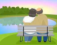 Ηλικιωμένο ζεύγος σε έναν πάγκο Διανυσματική απεικόνιση