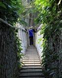 Ηλικιωμένο ζεύγος σε μια κρεμώντας γέφυρα Στοκ Εικόνες