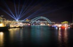 Η λιμενική γέφυρα στο Σίδνεϊ τη νύχτα, Αυστραλία Στοκ Φωτογραφίες
