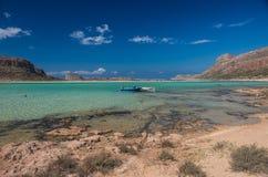 Η λιμνοθάλασσα παραλιών Balos στην Κρήτη Στοκ Εικόνες