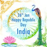Η ινδική σημαία χρωμάτισε διακοσμημένος peacock Στοκ Εικόνες