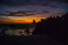 Ηλιοβασίλεμα, άποψη της θάλασσας και φοίνικες Νησί Apo, Φιλιππίνες Στοκ Φωτογραφία