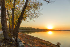 Ηλιοβασίλεμα δέντρων ποταμών φθινοπώρου Στοκ Εικόνες
