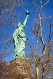 ηλιοβασίλεμα αγαλμάτων της Νέας Υόρκης ελευθερίας πόλεων Τριών τετάρτων άποψη από πίσω πόλη Νέα Υόρκη Στοκ φωτογραφίες με δικαίωμα ελεύθερης χρήσης