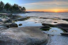 Ηλιοβασίλεμα ακτών νησιών Gabriola Στοκ φωτογραφία με δικαίωμα ελεύθερης χρήσης