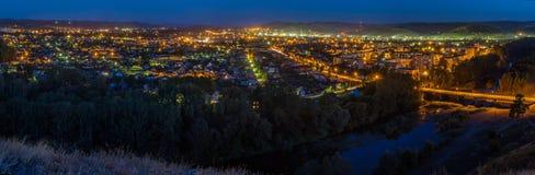 Ηλιοβασίλεμα από την κορυφή της πόλης σε Kuvandyk Στοκ εικόνα με δικαίωμα ελεύθερης χρήσης