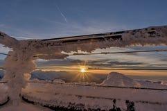 Ηλιοβασίλεμα από την κορυφή Saentis Στοκ Εικόνες
