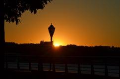 Ηλιοβασίλεμα από το Hudson Στοκ Εικόνες
