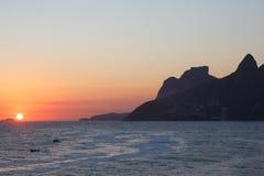 Ηλιοβασίλεμα από Arpoador, Ρίο ντε Τζανέιρο Στοκ Εικόνες