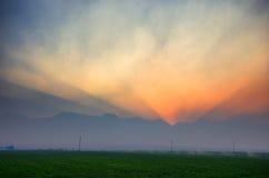 Ηλιοβασίλεμα βουνών Smokey στοκ εικόνα