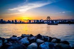 Ηλιοβασίλεμα γεφυρών ουράνιων τόξων Στοκ Εικόνες