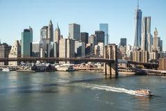Ηλιοβασίλεμα γεφυρών του Μπρούκλιν του Μανχάταν πόλεων της Νέας Υόρκης Στοκ φωτογραφία με δικαίωμα ελεύθερης χρήσης