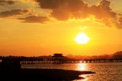 Ηλιοβασίλεμα γεφυρών του U Bein, το Μιανμάρ Στοκ Εικόνα
