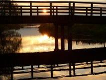 Ηλιοβασίλεμα γεφυρών Bakkeveen Στοκ Φωτογραφίες