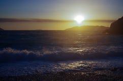 Ηλιοβασίλεμα εν πλω Στοκ Φωτογραφία