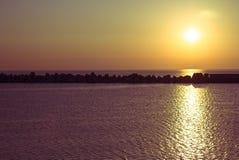 Ηλιοβασίλεμα επάνω από τη Μαύρη Θάλασσα Στοκ Εικόνες
