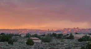Ηλιοβασίλεμα ερήμων του Utah αψίδων και πύργων Στοκ Φωτογραφία