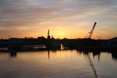 Ηλιοβασίλεμα 3 εργοστασίων Στοκ Φωτογραφία