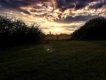 Ηλιοβασίλεμα ευρύτερης περιοχής Οξφόρδης Στοκ Εικόνα