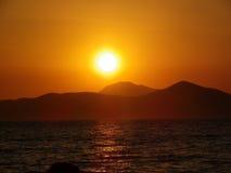 Ηλιοβασίλεμα Ελλάδα Kos Στοκ εικόνα με δικαίωμα ελεύθερης χρήσης