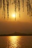 Ηλιοβασίλεμα λιμνών Kunming Στοκ Εικόνες