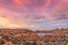Ηλιοβασίλεμα λιμνών Watson Στοκ Εικόνες