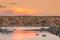 Ηλιοβασίλεμα λιμνών Watson Στοκ Εικόνα