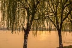 Ηλιοβασίλεμα λιμνών Xuanwu Στοκ Εικόνες