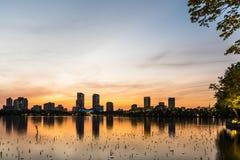 Ηλιοβασίλεμα λιμνών Xuanwu Στοκ εικόνα με δικαίωμα ελεύθερης χρήσης