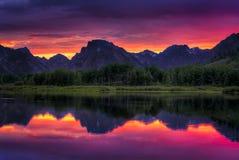Ηλιοβασίλεμα κάμψεων Oxbow στοκ εικόνες