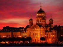 Ηλιοβασίλεμα καθεδρικών ναών Αγίου Πετρούπολη Στοκ Εικόνες
