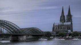 Ηλιοβασίλεμα καθεδρικών ναών της Κολωνίας απόθεμα βίντεο