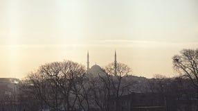 Ηλιοβασίλεμα και άποψη σχετικά με ένα μουσουλμανικό τέμενος Στοκ εικόνα με δικαίωμα ελεύθερης χρήσης