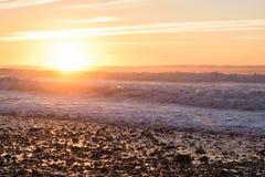 Ηλιοβασίλεμα και αντανακλάσεις στην παραλία, Μαρόκο Στοκ φωτογραφία με δικαίωμα ελεύθερης χρήσης