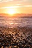 Ηλιοβασίλεμα και αντανακλάσεις στην παραλία, Μαρόκο Στοκ Φωτογραφίες