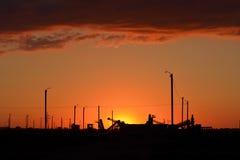 Ηλιοβασίλεμα και κατασκευές Στοκ Φωτογραφίες