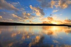 Ηλιοβασίλεμα και στρείδια Αυστραλία Aquafarming Στοκ φωτογραφία με δικαίωμα ελεύθερης χρήσης