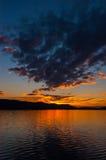 Ηλιοβασίλεμα κοντά σε Radolfzell/τη Γερμανία Στοκ Εικόνες