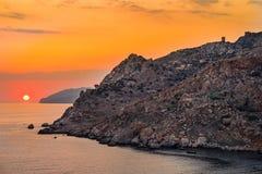 Ηλιοβασίλεμα κοντά στο ακρωτήριο Tainaron στοκ εικόνα με δικαίωμα ελεύθερης χρήσης