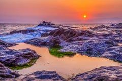Ηλιοβασίλεμα κοραλλιογενών υφάλων Στοκ φωτογραφίες με δικαίωμα ελεύθερης χρήσης