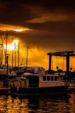 Ηλιοβασίλεμα μαρινών σε έναν παράξενο καιρό Στοκ φωτογραφία με δικαίωμα ελεύθερης χρήσης