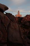 ηλιοβασίλεμα με έναν φάρο στην Ιταλία Στοκ Φωτογραφία