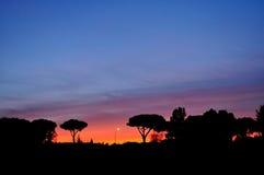 Ηλιοβασίλεμα με τα δέντρα σκιαγραφιών Στοκ φωτογραφία με δικαίωμα ελεύθερης χρήσης