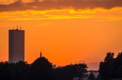 ηλιοβασίλεμα οριζόντων της Βοστώνης Στοκ φωτογραφία με δικαίωμα ελεύθερης χρήσης