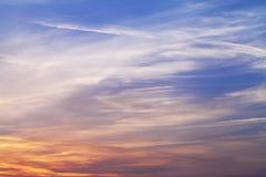 Ηλιοβασίλεμα ουρανού και χρώματα σύννεφων Στοκ εικόνα με δικαίωμα ελεύθερης χρήσης