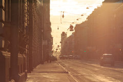 Ηλιοβασίλεμα οδών Στοκ Εικόνες