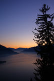 Ηλιοβασίλεμα πέρα από τα δέντρα και τις λίμνες πεύκων Στοκ Φωτογραφία